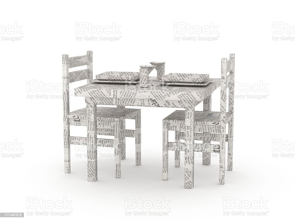 Origami dinner table made by newspapers royalty-free stock photo
