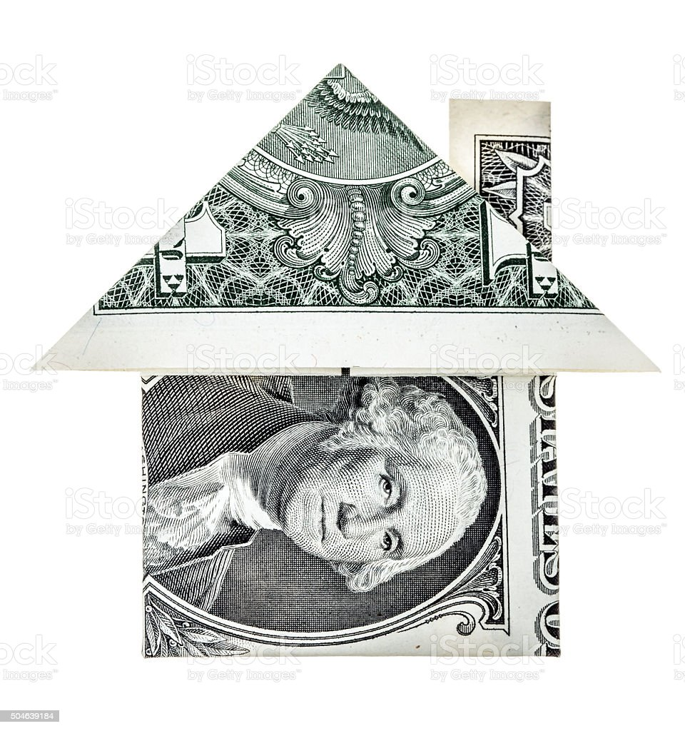 Origami dollar house stock photo