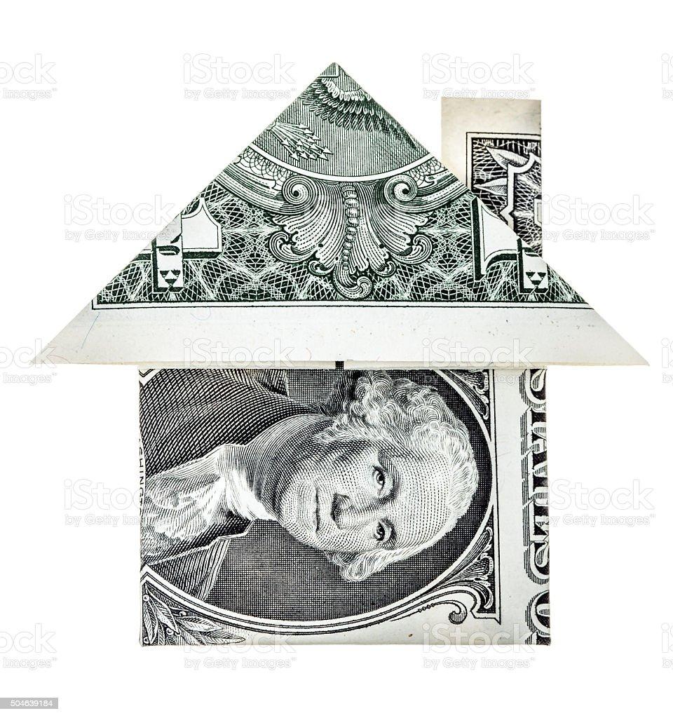 Origami dollar house stock photo