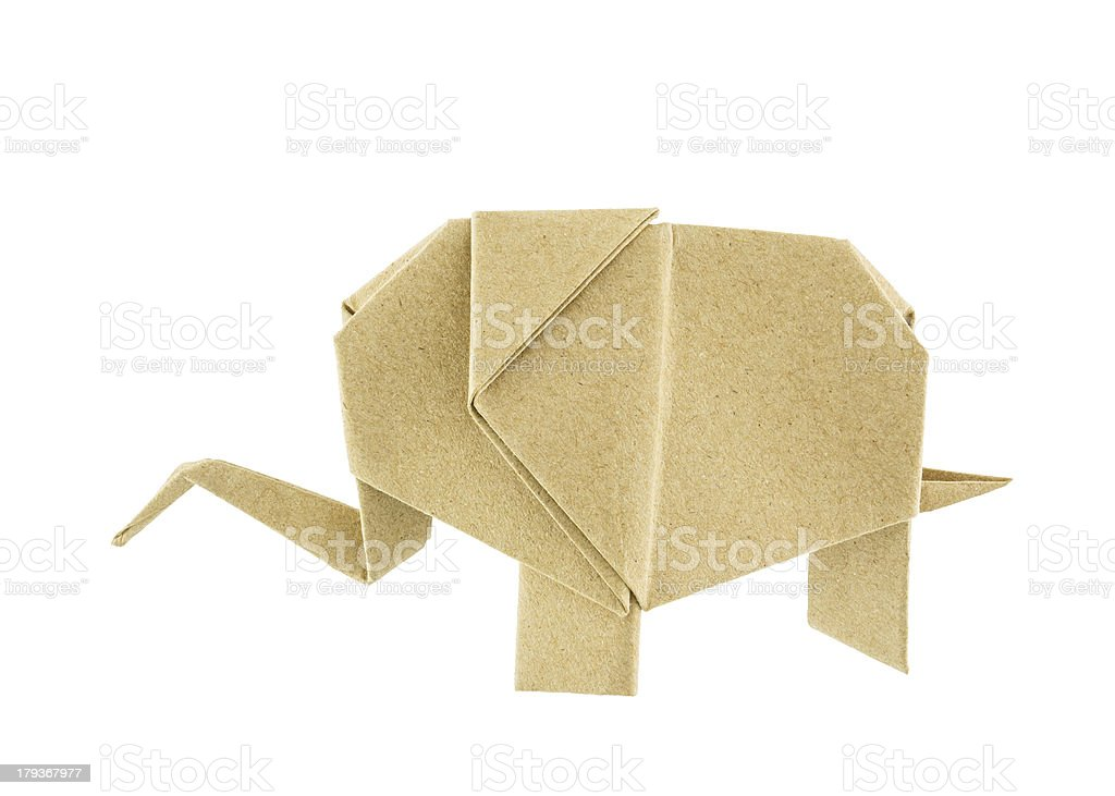 Origami elephant recycle paper stock photo