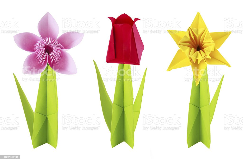 Origami flowers set stock photo