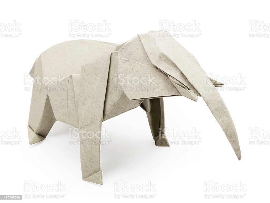 Origami gray elephant stock photo