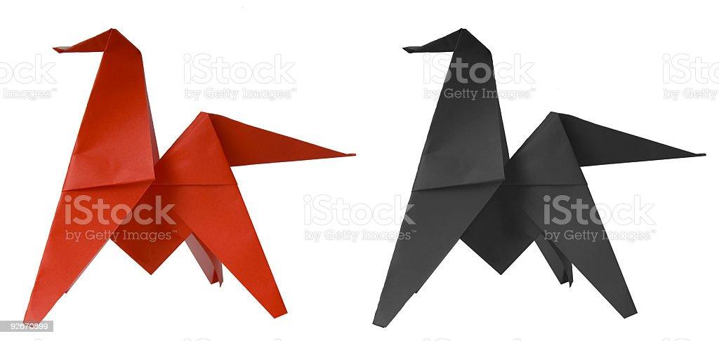 Origami Horse REQUEST stock photo