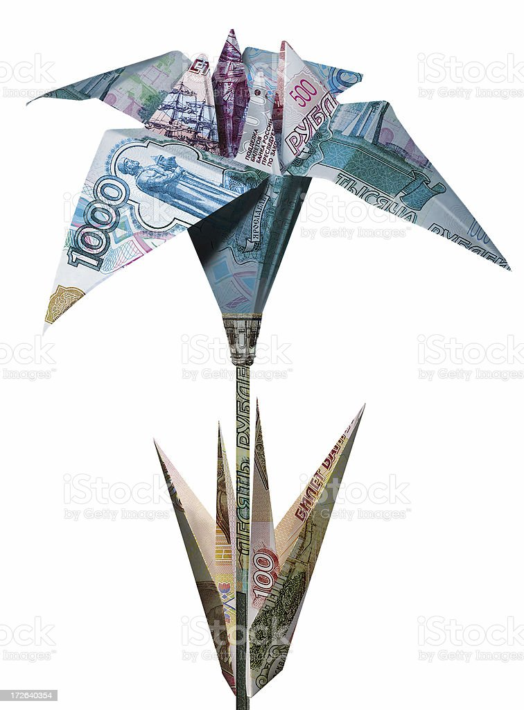 Origami in Russian stock photo