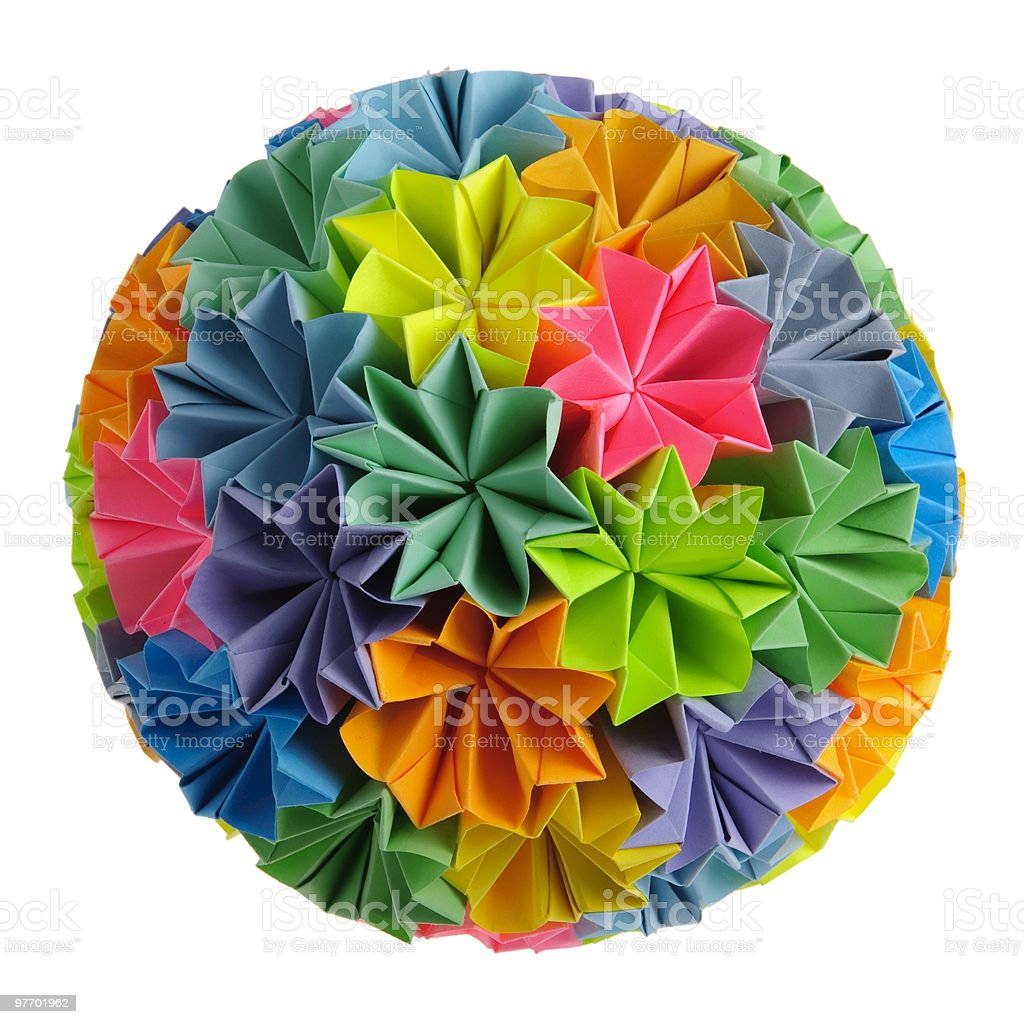 Origami kusudama rainbow royalty-free stock photo