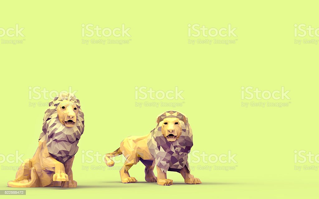 Origami lion LowPoly animals Concept stock photo