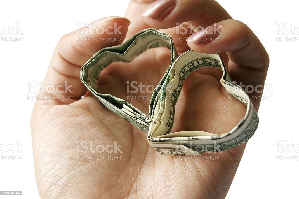 Origami argent coeur photo libre de droits