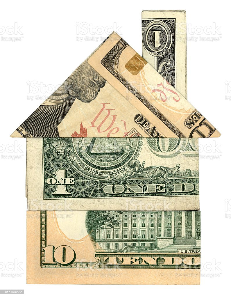 Origami of a house with chimney made with dollar bills royalty-free stock photo