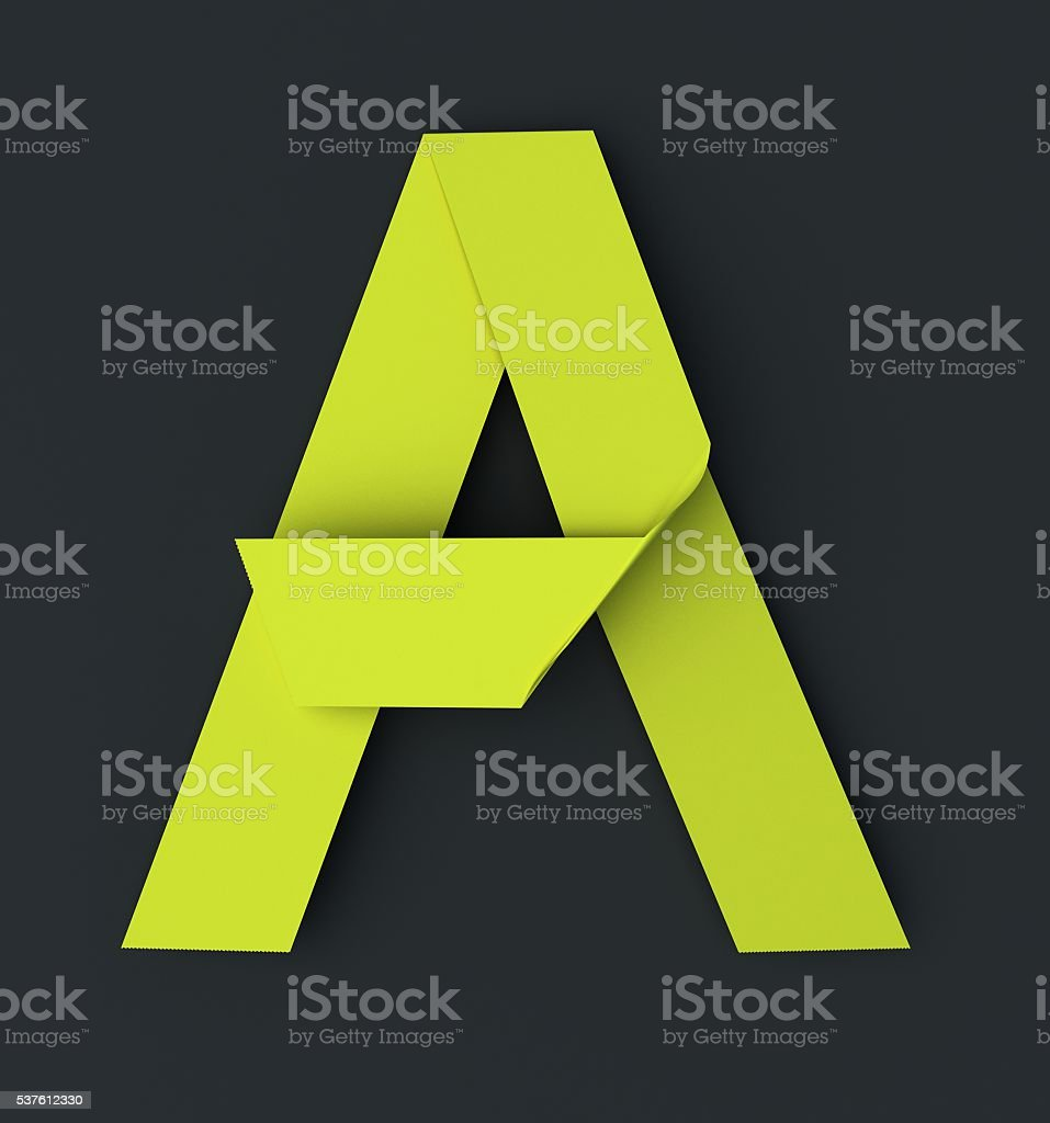 Origami paper font . Uppercase letter A stock photo
