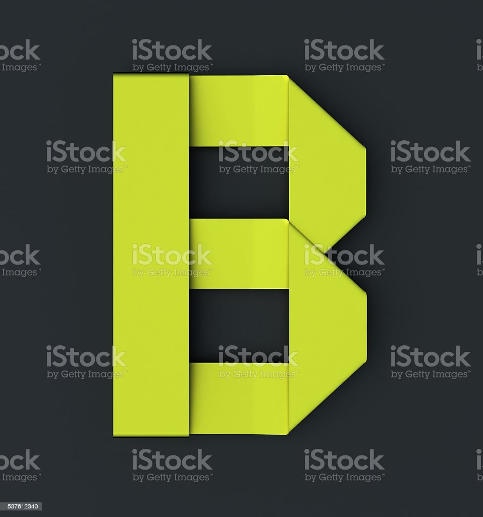 Origami paper font . Uppercase letter B stock photo