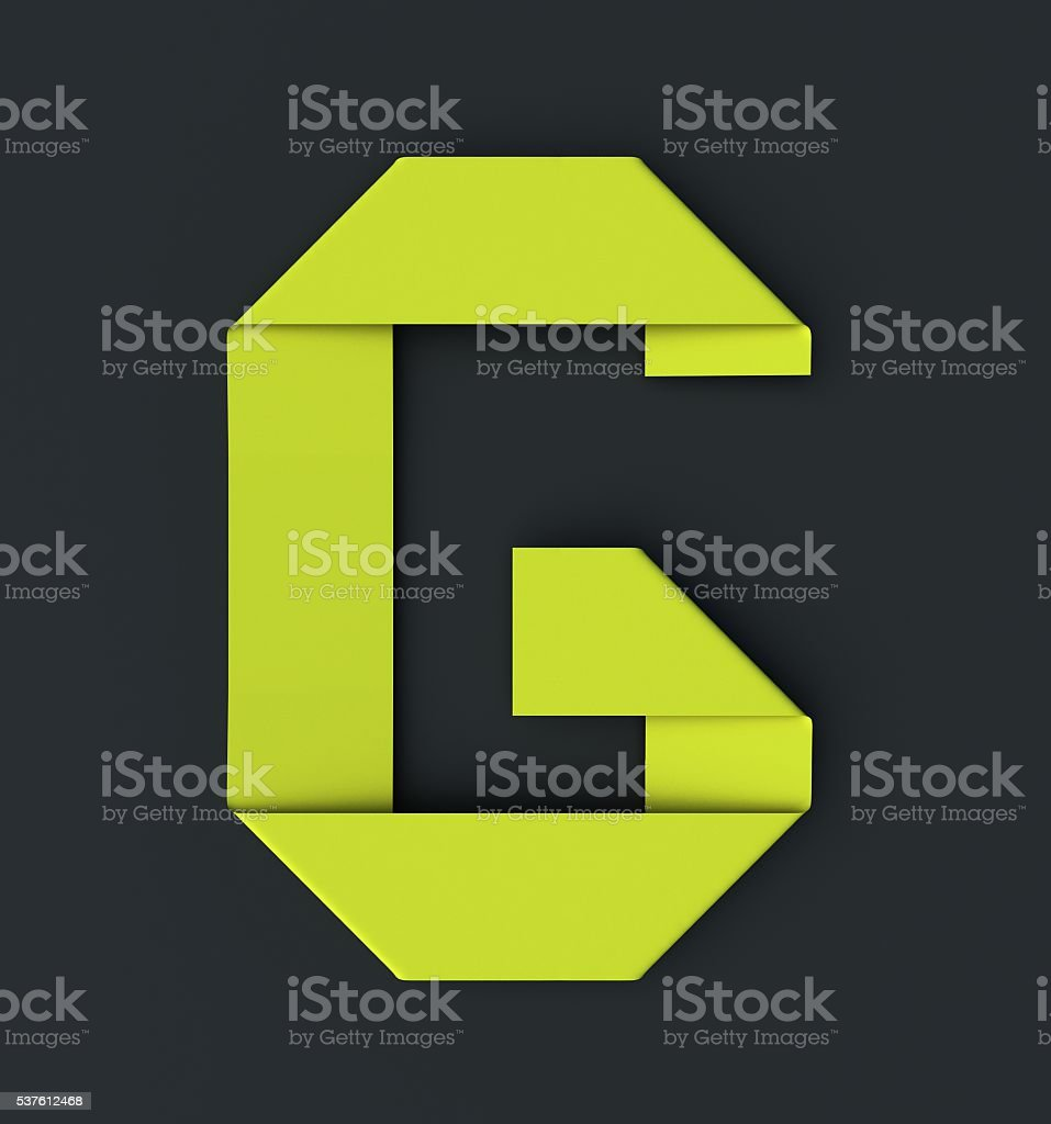 Origami paper font . Uppercase letter G stock photo