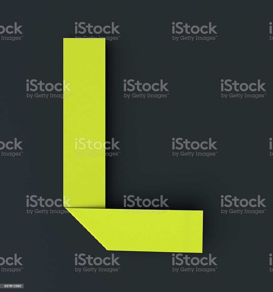 Origami paper font . Uppercase letter L stock photo