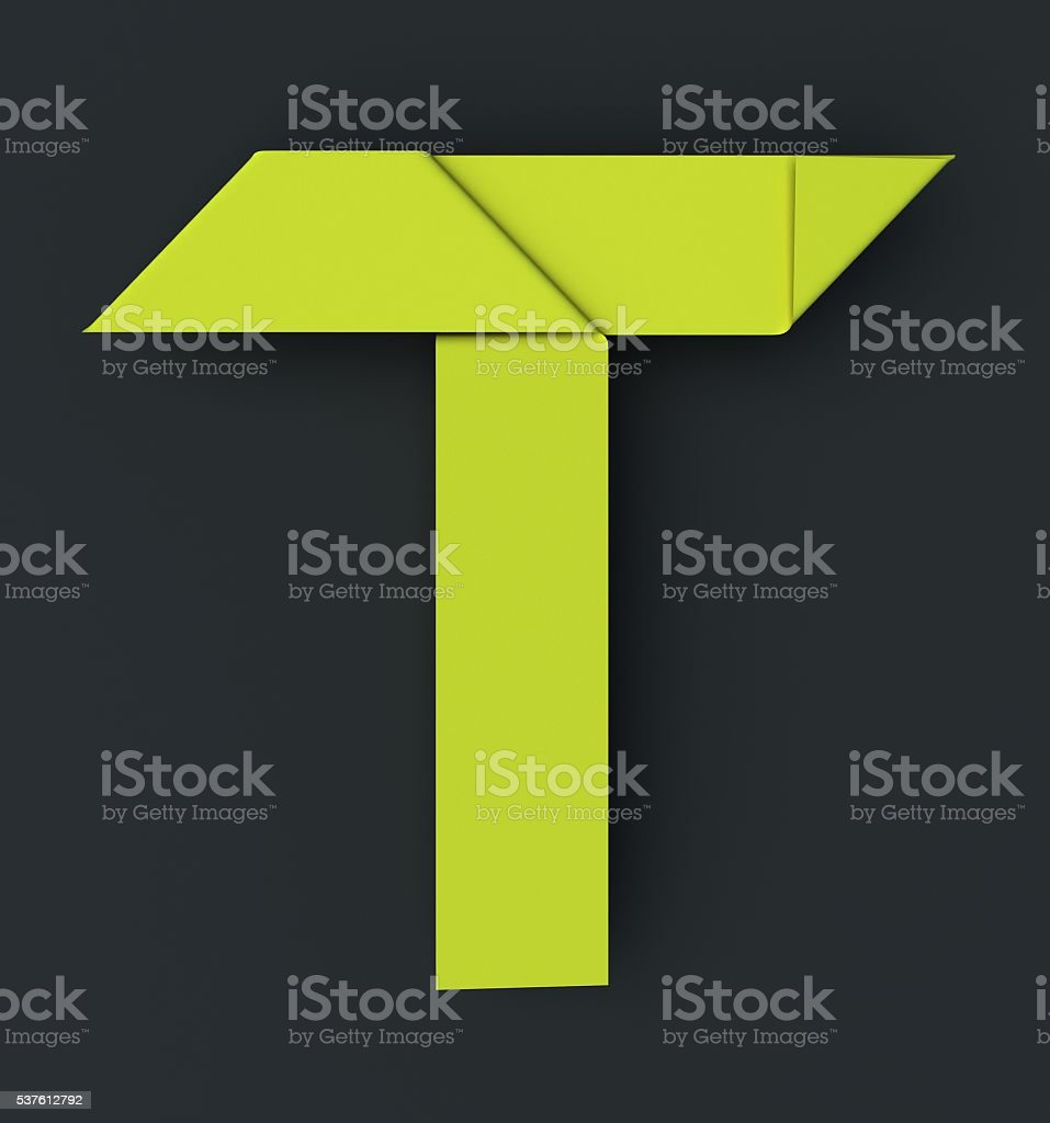 Origami paper font . Uppercase letter T stock photo