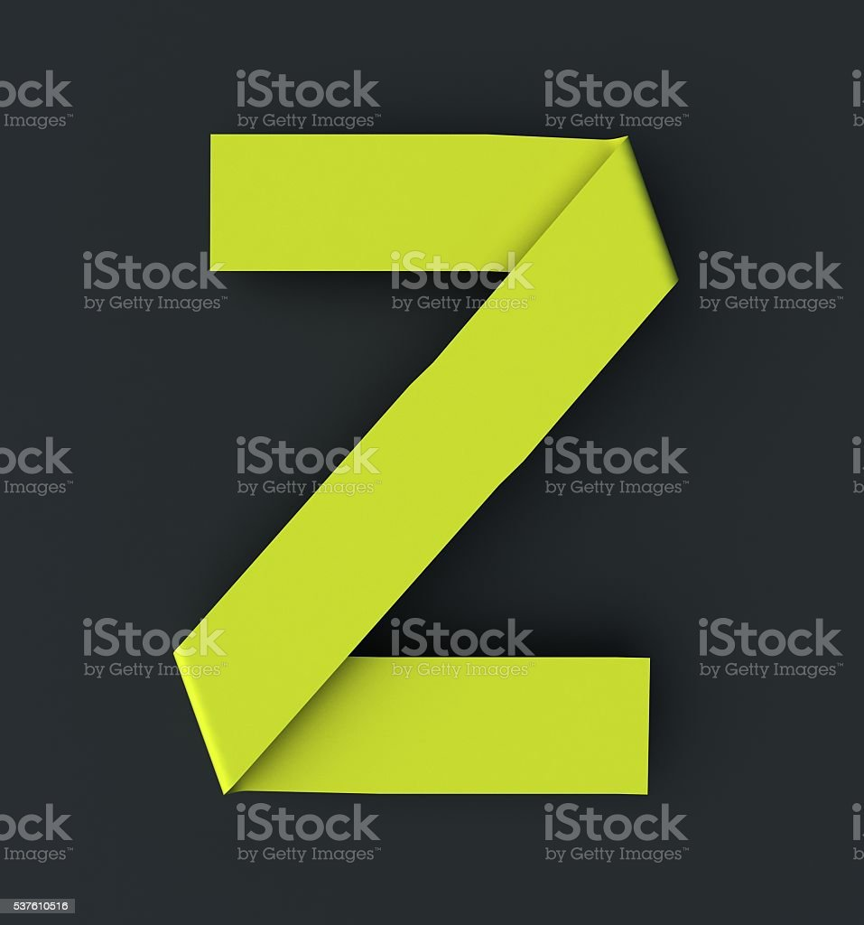 Origami paper font . Uppercase letter Z stock photo