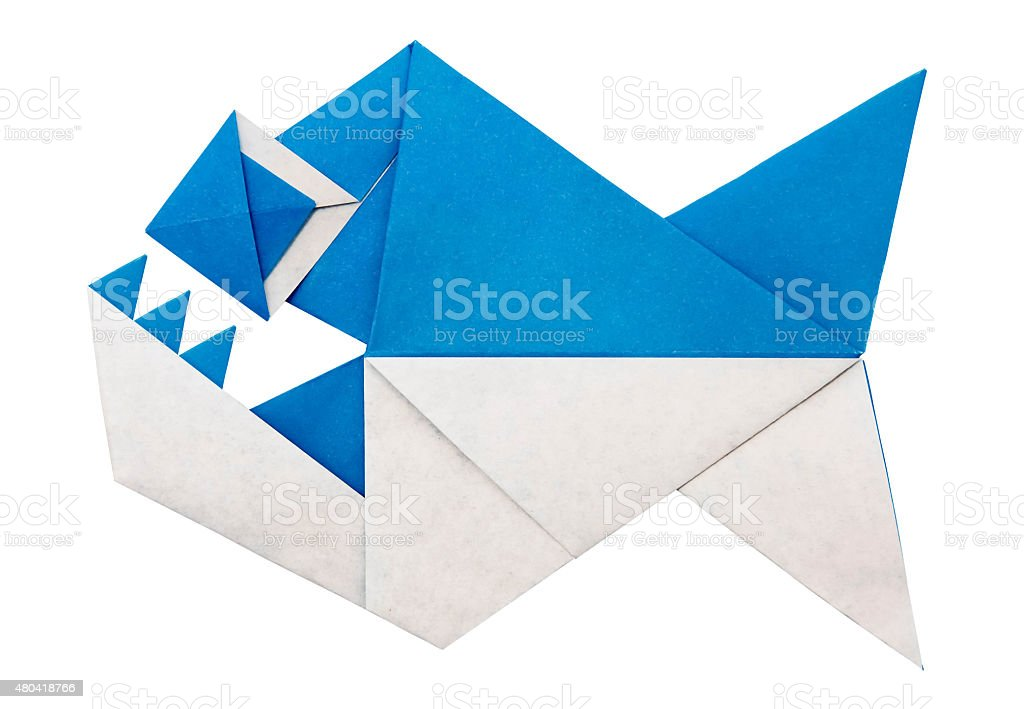 Origami paper piranha flock stock photo