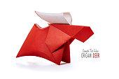 Origami paper red deer