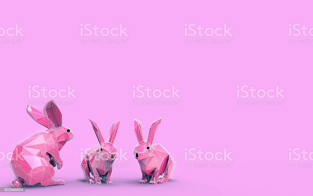Origami Rabbit LowPoly animals Concept stock photo