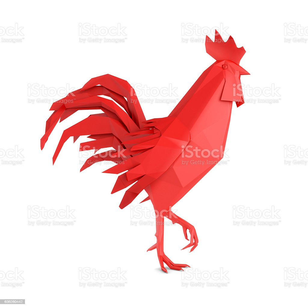 Origami red rooster stock photo