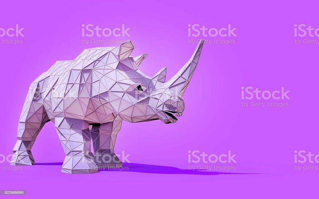 Origami Rhino Low Poly Concept stock photo