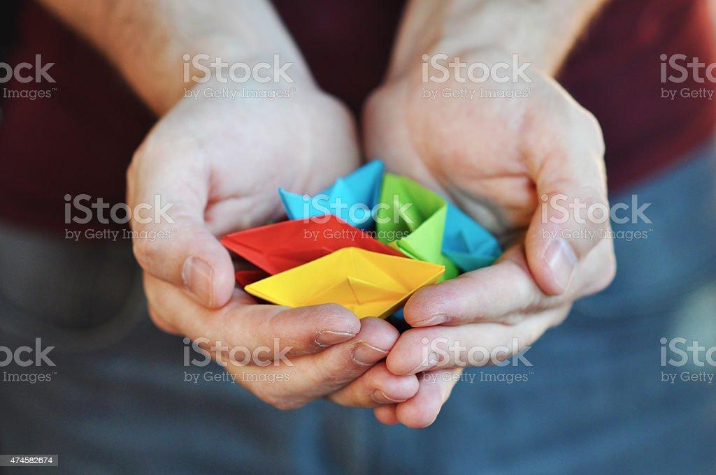 Origami ship stock photo