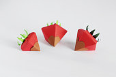 Origami Strawberries with Chocolate