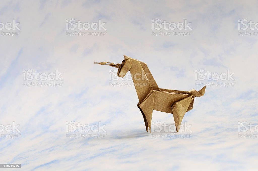 Origami Unicorn stock photo
