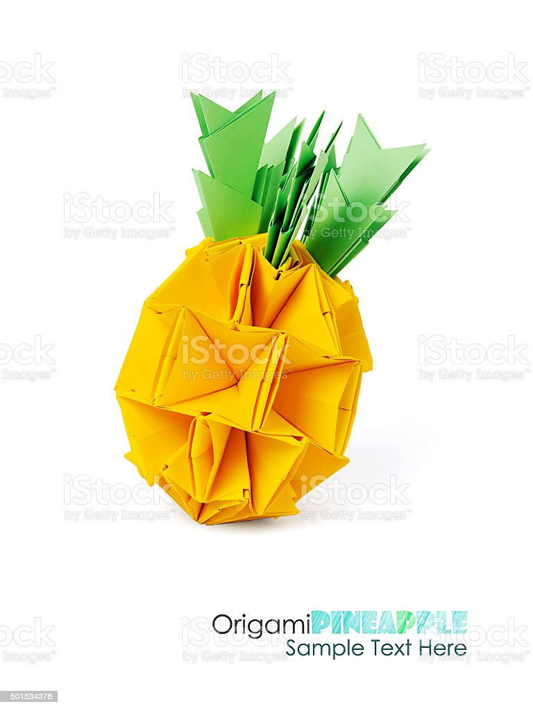 Origami yellow pineapple stock photo