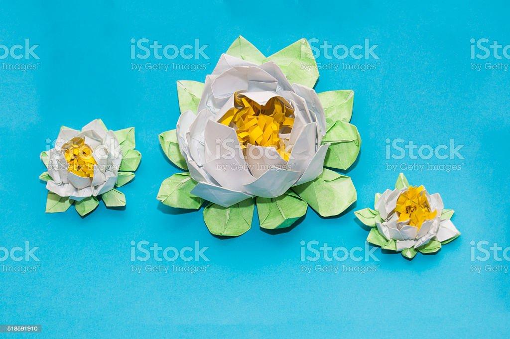 Origami:white lotuses stock photo