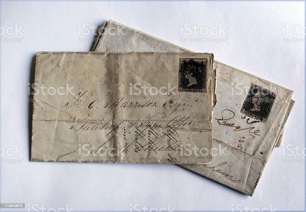 Original 1841 letters stock photo