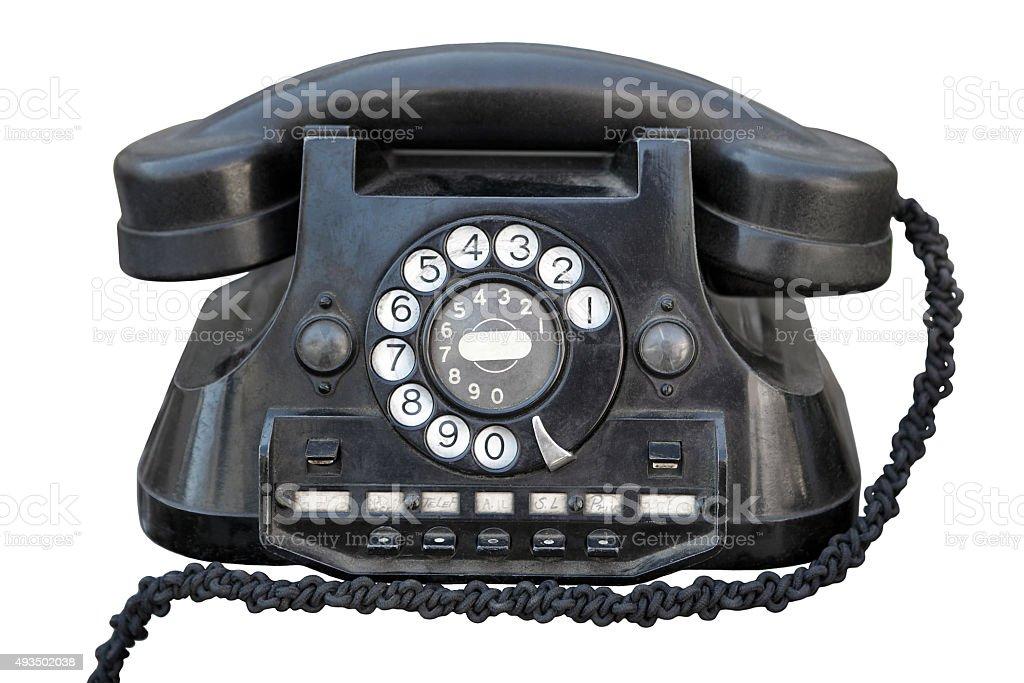 Original ancient telephone. stock photo