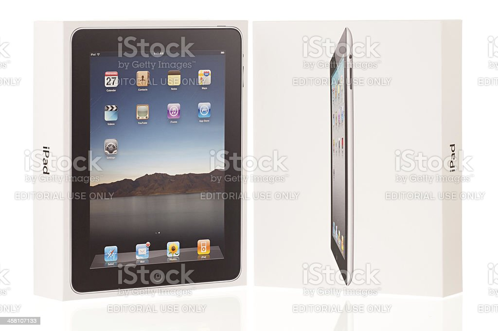 Original Apple iPad and Second Generation Retail Packages royalty-free stock photo