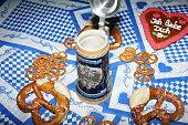 Original bavarian pretzels with beer . Oktoberfest background