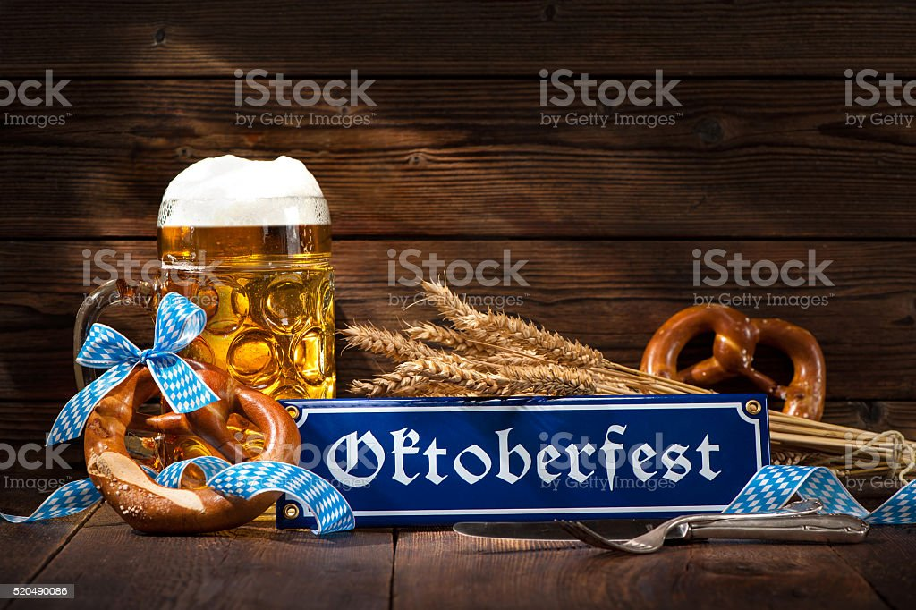 Original bavarian pretzels with beer stein stock photo