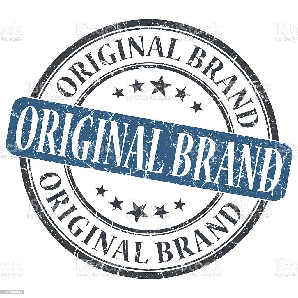 Original Brand blue grunge round stamp on white background stock photo