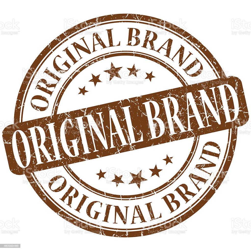 Original brand grunge brown round stamp stock photo