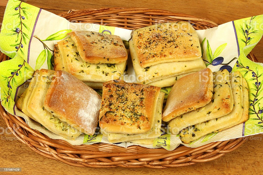 Original bread rolls with garlic royalty-free stock photo