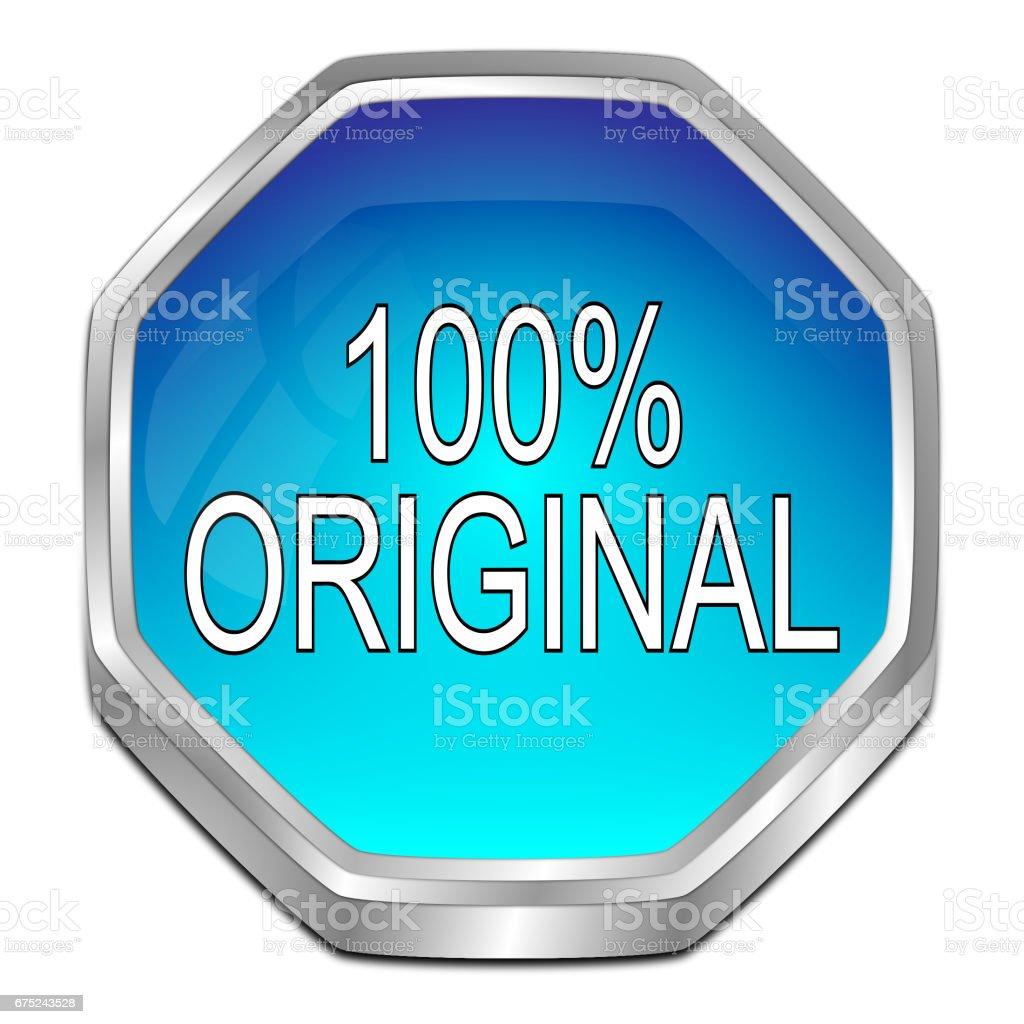 100% Original button - 3D illustration stock photo