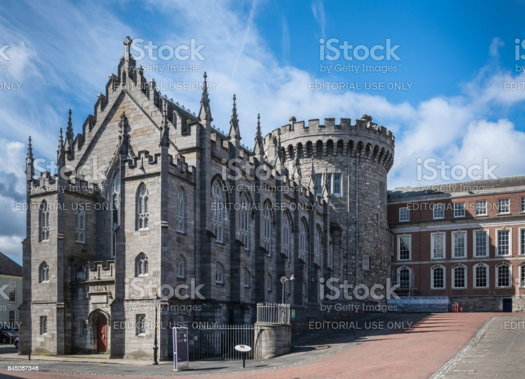 Original church and tower of The Castle, Dublin Ireland. stock photo