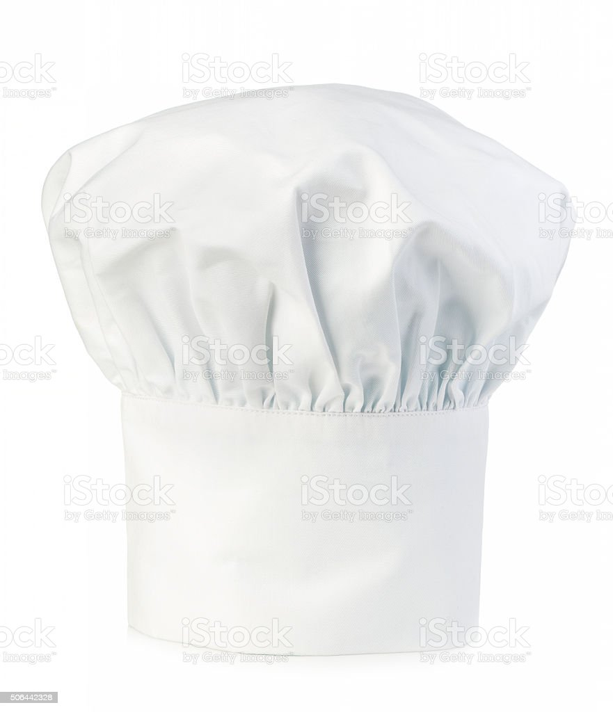 Original cooks cap. Chef's hat close-up isolated on white. stock photo