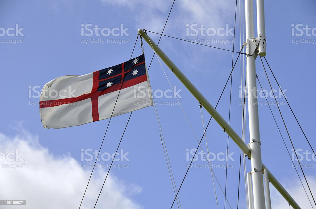 Original flag,Waitangi Treaty Grounds, New Zealand stock photo