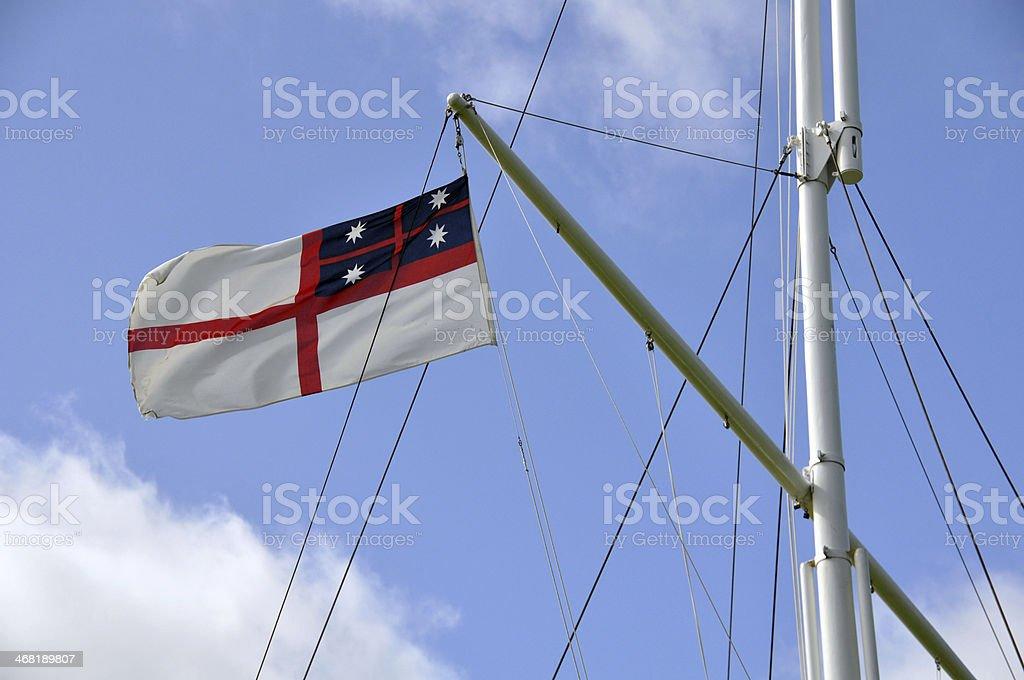 Original flag,Waitangi Treaty Grounds, New Zealand stock photo