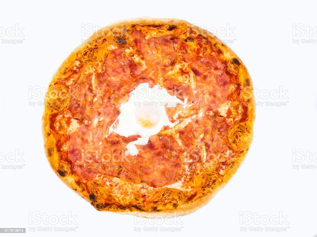 Original Italian Pizza 'Ham and Egg' isolated on white. stock photo