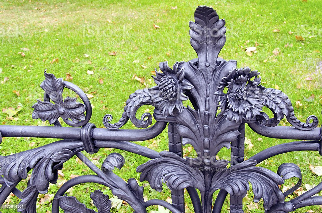 original metal fence fragment royalty-free stock photo