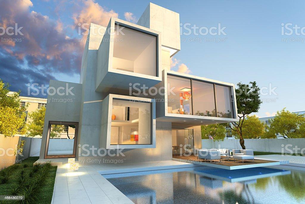 Original modern mansion stock photo