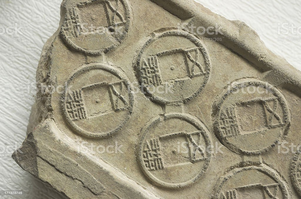 Original mould of old chinese coin stock photo