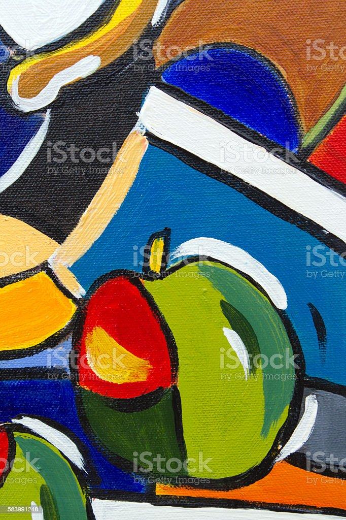 Original oil painting close up detail - apples stock photo