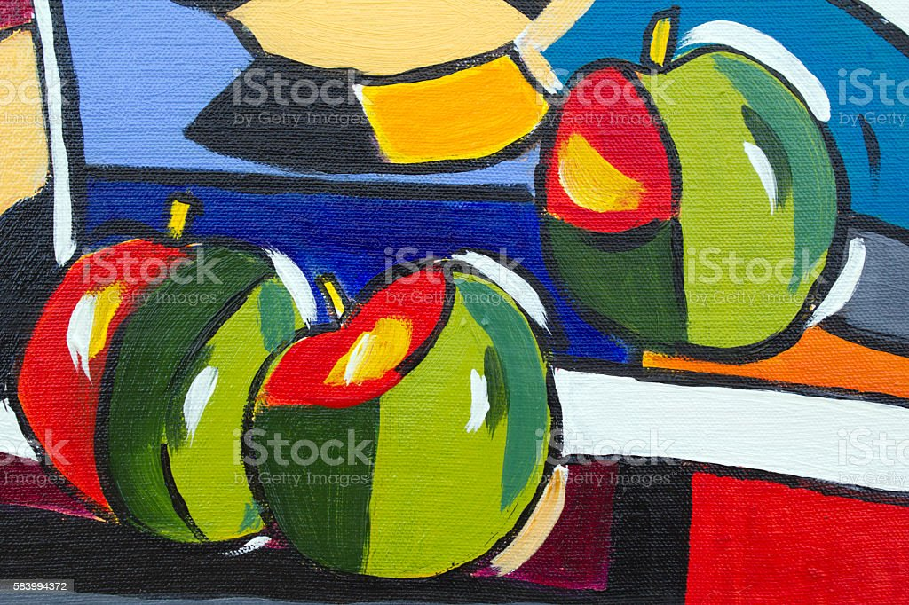 Original oil painting close up detail - apples stock photo