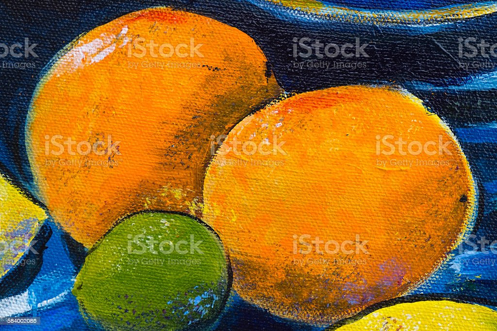 Original oil painting close up detail - oranges stock photo
