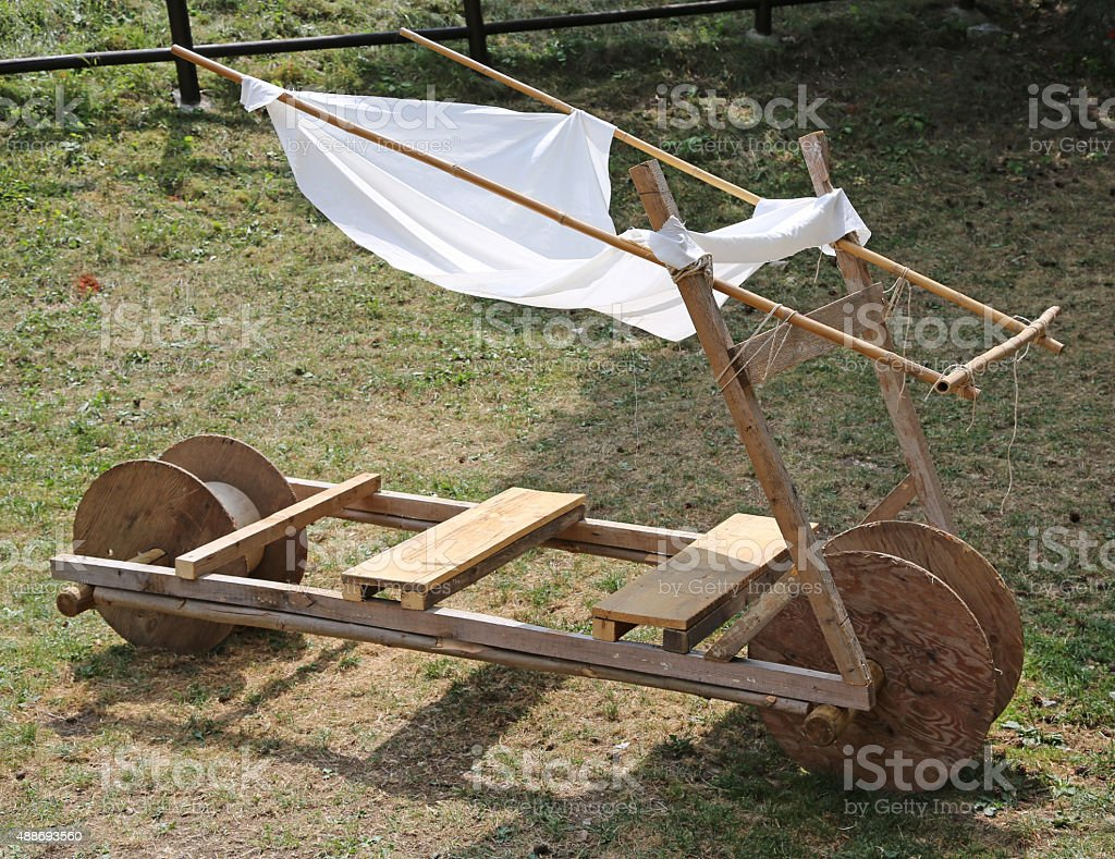 original old stone age car made of wood stock photo