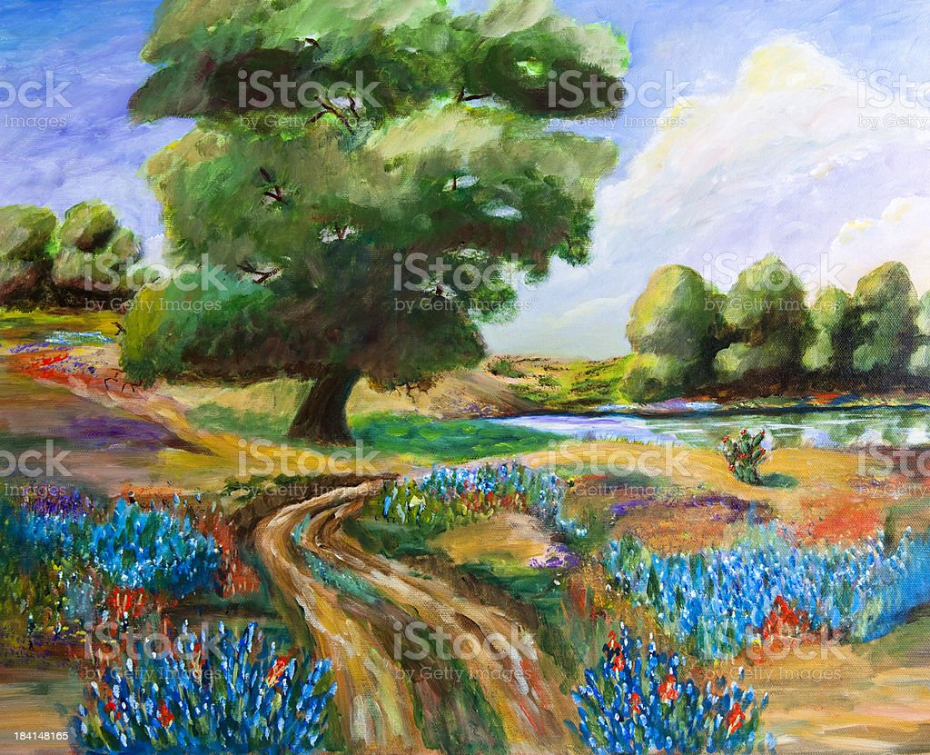 Original painting of Texas bluebonnets and pond. stock photo